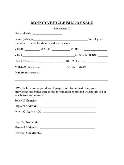 free texas motor vehicle bill of sale form pdf eforms free