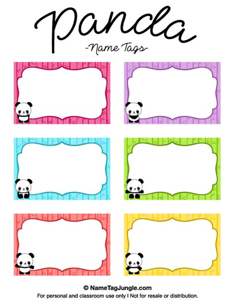 name tag templates free printable panda name tags the template can also be