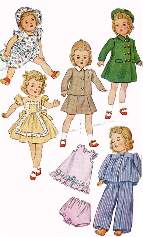 vintage doll clothes pattern 2538 for 20 in doll
