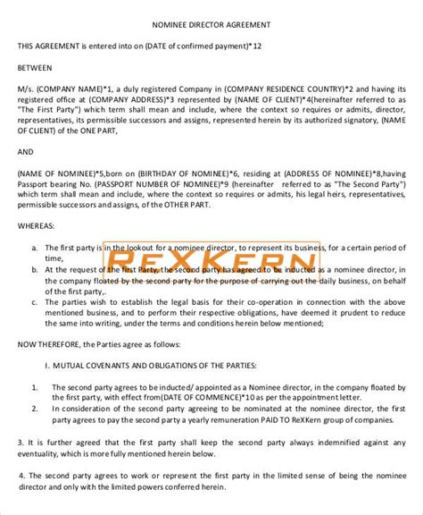Director Agreement Templates 9 Free Word Pdf Format Download Free Premium Templates Nominee Agreement Template