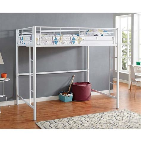 loft beds full size walker edison steel full size loft bed white bdolwh