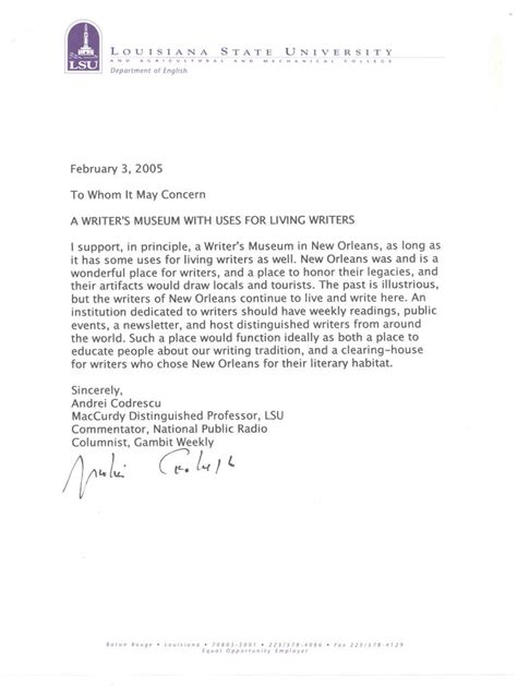 Sle Letter In Support Of Project New Orleans Writers Housing Outreach Project Letters Of Support