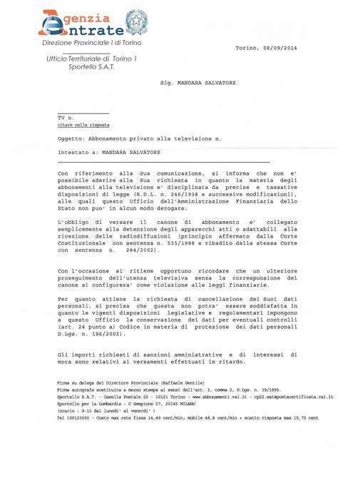 lettere agenzia delle entrate cosiddetto canone mettiamo le cose in chiaro io non