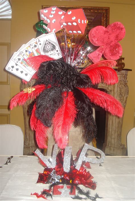Las Vegas Centerpieces Feathers Playing Cards Dice Vegas Themed Centerpieces