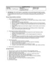 Sample Forklift Operator Resume Forklift Operator Job Resume Warehouse Forklift Resume
