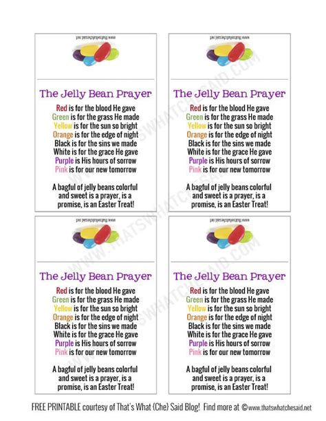 Jelly Bean Prayer Printable jelly bean prayer free printable that s what che said