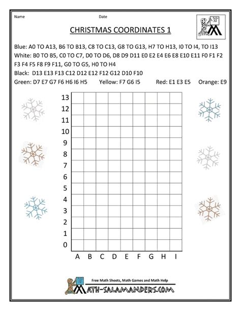Coordinates Worksheets by Math Coordinates 1 In The