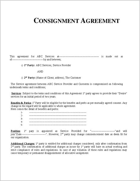 consignment store contract template consignment shop contract template template resume