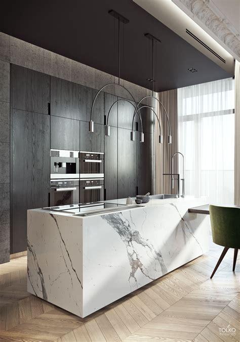 big block white marble kitchen island  dark wood