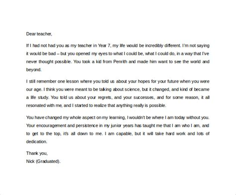 thank you letter to a from student thank you letter to 11 free documents