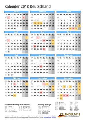 Calendar 2018 Deutschland Kalender 2018 Zum Ausdrucken Pdf Vorlagen