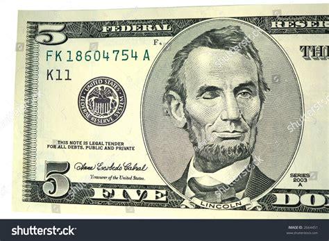 abraham lincoln on dollar abraham lincoln on five dollar bill stock photo 2664451