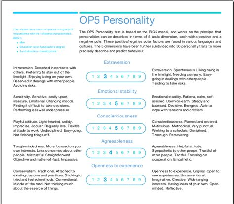 big five personality test op5 personality test based on big 5 model