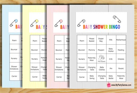 Baby Shower Bingo Cards Printable