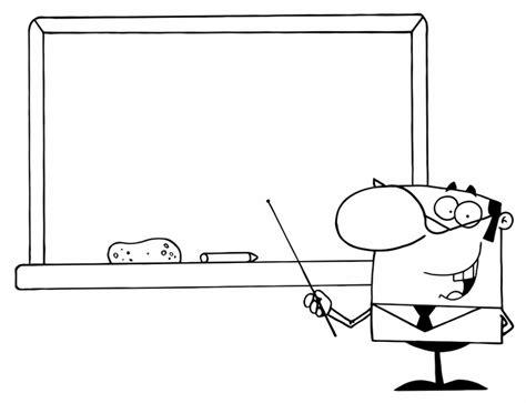 Kostenlose Malvorlage Schule Lehrer An Der Tafel Zum Ausmalen