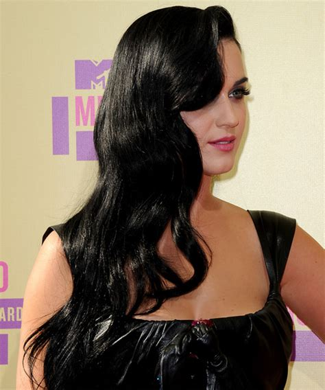 Katy Perry Long Wavy Casual Hairstyle   Black