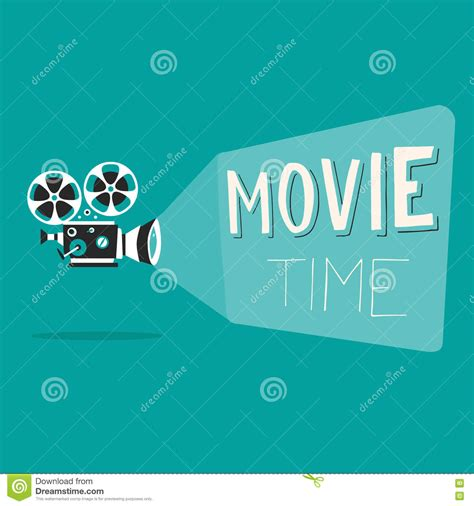 time poster cartoon vector illustration cinema motion picture stock vector image