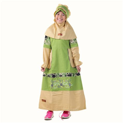 Baju Muslim Anak Hijau No 10 detail produk baju anak muslimah borneo hijau toko bunda