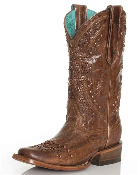 corral womans boots corral s metallic knit square toe boots brown