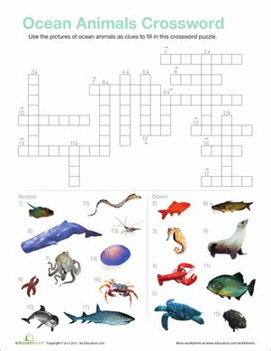 printable ocean puzzles ocean animals crossword worksheet education com