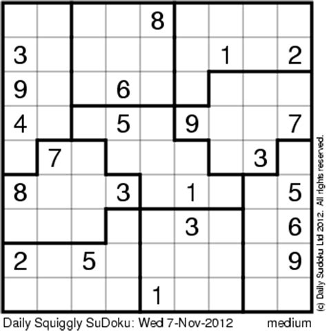 printable squiggly sudoku squiggly sudoku