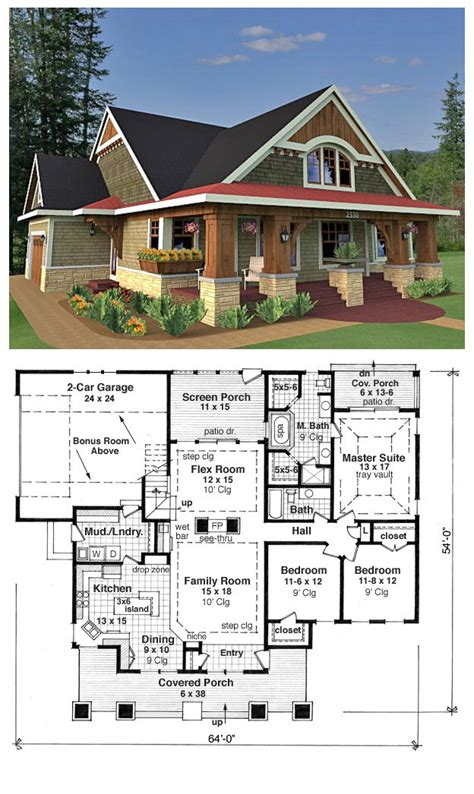 craftsman cottage floor plans bungalow cottage craftsman traditional house plan 42618