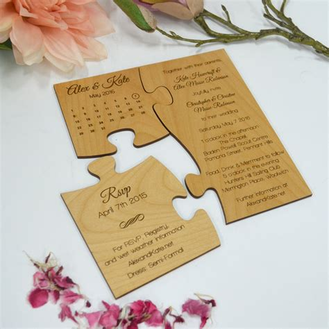 Wedding Invitation by Engraved Wooden Save The Date Puzzle Personalized Favors