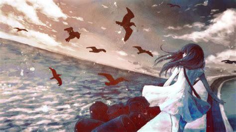 wallpaper anime girl alone sea seagulls anime anime girls alone