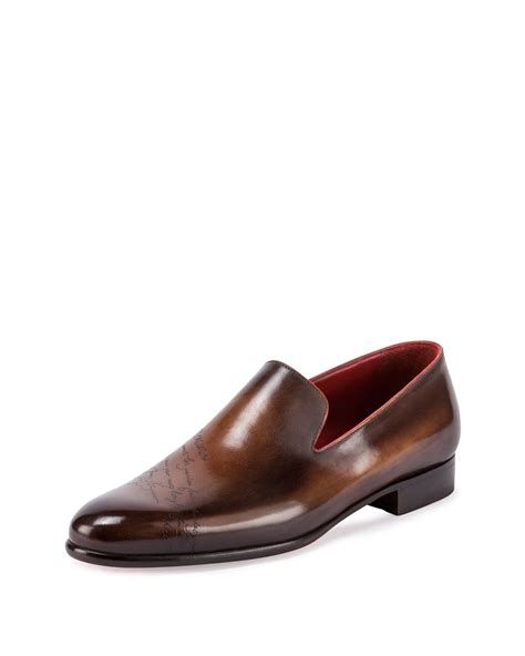 dress shoes slip on berluti scritto leather slip on dress shoe in brown for