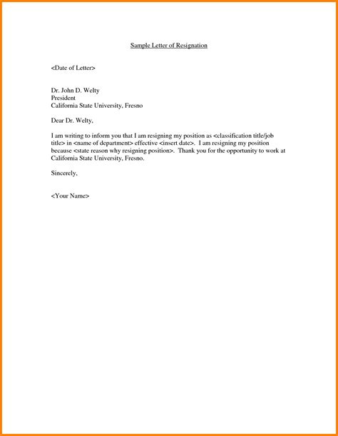 letter of resignation template word resignation letter template in word format best of