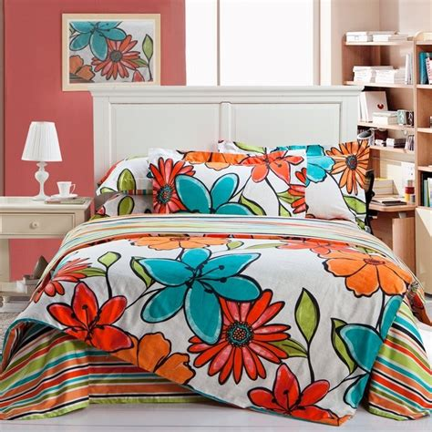 Orange Pink And Turquoise Bedding by Venetian Orange Turquoise And White Tropical Flower