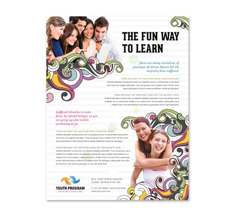 education flyer templates youth education program flyer template