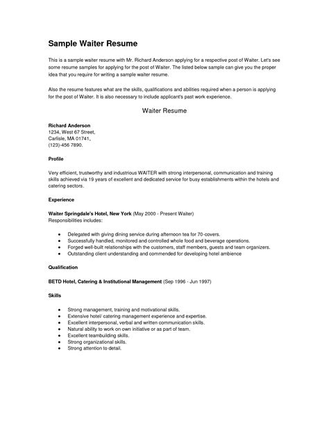 server resume template free sle server resume free resume exle and writing