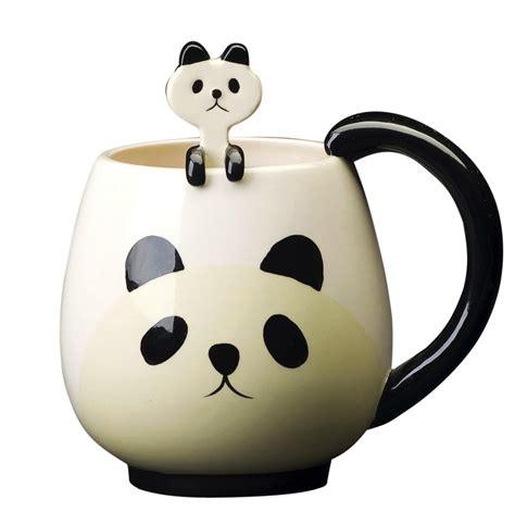 Side Chairs For Dining Room Animal Ceramic Mug Panda With Spoon