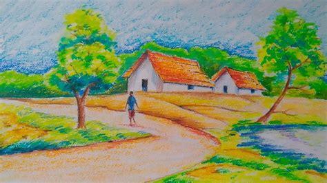 village landscapeeasy drawing tutorial  kids oil
