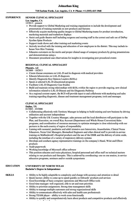 Specialist Resume by Clinical Specialist Resume Sles Velvet