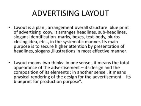 layout meaning in advertising advertising layout ppt