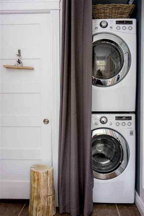 washer and dryer in bathroom modern rustic woodland cottage refreshed designs