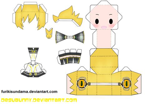 Kaito Papercraft - len append papercraft by furikisundama on deviantart