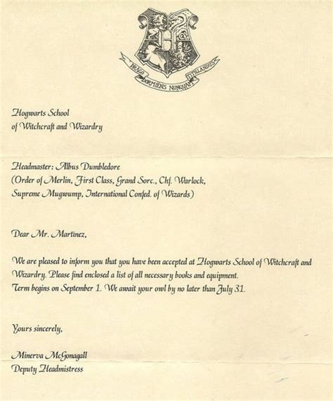 Acceptance Letter Manuscript Proof Harry Potter Is Real
