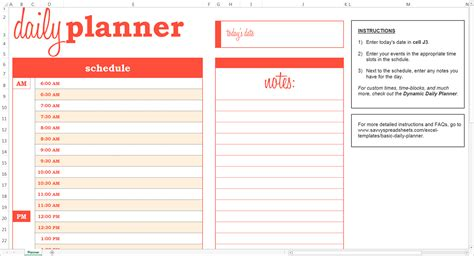 daily planner template xls basic daily planner excel template savvy spreadsheets
