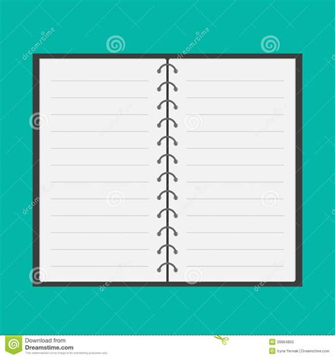 open notepad with spiral and blank lined paper fl stock