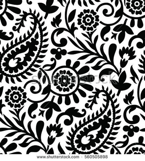 seamless paisley black white pattern stock vector