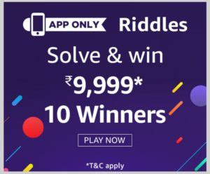 amazon quiz answer today amazon riddles quiz answers win rs 9999
