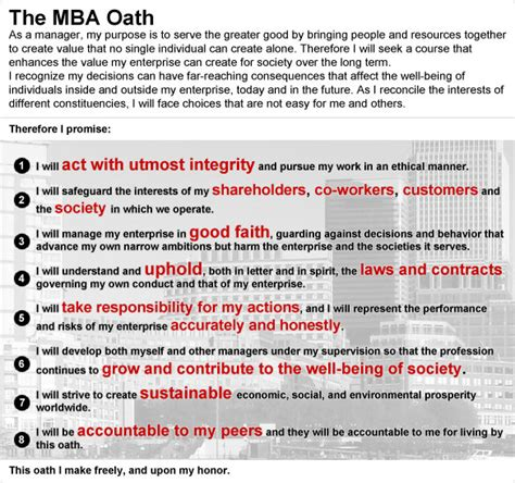 The Mba Oath by The Story