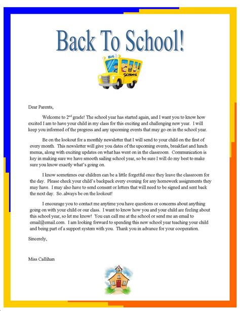 Parent Letter Emily S Week 3 Quot Back To School Quot Letter To Parents