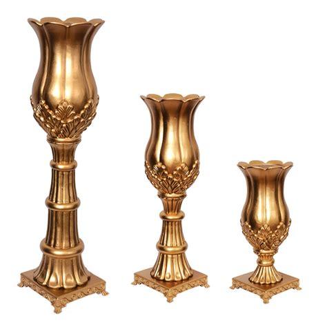 vaso romano conjunto 3 vasos romano resina c coluna dourado grupo