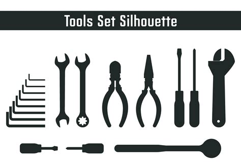 free tool tools set silhouette free vector stock