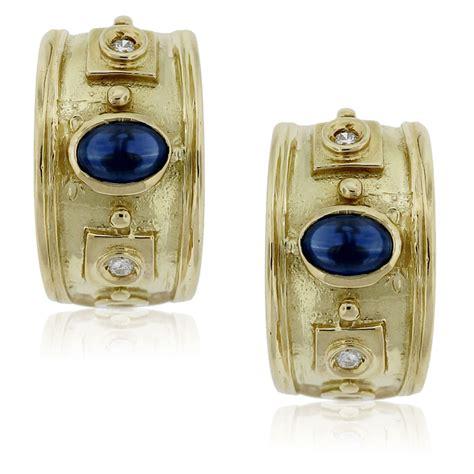 18k yellow gold cabochon sapphire half hoop earrings