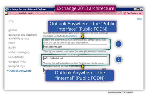 Office 365 Outlook Anywhere Exchange Web Services Manage The And External